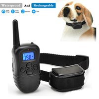 Wholesale Remote Electric Pet Training Collar - 2016 hot sale 330 yards Remote Electric Shock Vibra Control With LCD Blue Backlight Rechargeable Waterproof 100 Level Pet Dog Training Col