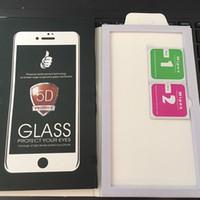 geschnitzte iphone abdeckung großhandel-Gehärtetes Glas 5D HD Schutzfilm für iPhone X 6 6s 7 8 Plus Full Cover Kaltgeschnitzte Displayschutzfolie 1 STÜCKE Freies Epacket