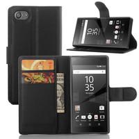 sony z3 kompakt flip kılıf toptan satış-Sony Xperia için Z5 Premium Z4 Z3 Z1 Kompakt Pu Deri Cüzdan Çevirme Telefon Kılıfı Freeshipping Kapakları