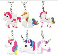 Wholesale Horse Pony Pendant - Unicorn Keychain Cute 6 Designs Animal Horse Pony PVC Keychains Women Bag Charm Key Ring Pendant Gifts High Quality K288