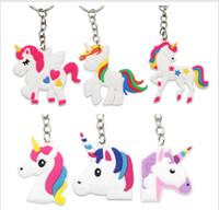 ingrosso simpatici disegni anello chiave-Unicorno Portachiavi Carino 6 Disegni Animale Cavallo Pony PVC Portachiavi Donna Borsa Fascino Portachiavi Pendente Regali di alta qualità K288