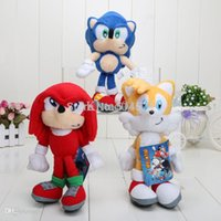 Felpa Sónica Llavero Personalizado Baratos-Sonic The Hedgehog Plush Toy Doll clave 3colors cadena 10pcs / lot 8 ''