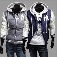 Wholesale Men Navy Baseball Jacket - Winter Fashion Men's Parka BNWT Varsity Letterman College Baseball Cotton Jackets New Brand Outdoor Parkas Men Gray,Navy,Black