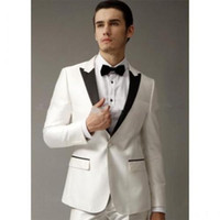 Wholesale Mens Designer Bow Ties - Handsome Slim Fit Tuxedos For Men White Mens Wedding Tuxedos with Black Peaked Lapel Designer Mens Suits (Jacket+Pants+Bow Tie)