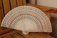 Wholesale Sandalwood Carvings - Vintage Folding Bamboo Hand Fans Wooden Hollow Carved Wedding Dancing Bridal Party Decor Fragrant Sandalwood Fan DHL free shipp