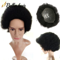 Wholesale super human hair wigs online - Super Thin Based Hairpiece NewFashion Afro American Mens Hairstyle Human Hair Handsome Attractive Short Curly Top Quality Full Hand Wig