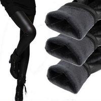 kunstlederstrickgamaschen großhandel-Warme gestrickte starke dünne Gamaschen Super elastische Gamaschen für Frauen Ankunfts-beiläufige Faux-Samt-Kunstleder Legging reizvolle Hosen wholesaleS-XXXL