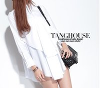 Wholesale europe style long sleeve blouses - 2016 new spring Europe and large size women Long-sleeved white shirt blouse loose women loose style cotton tops free shipping
