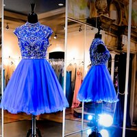 Wholesale Sapphire Blue Ivory - Heavily Beaded Sapphire Homecoming Dresses For Graduation High Neck Short Sleeve Keyhole Back Crystal Short Prom Dresses 2016 Cocktail Dress