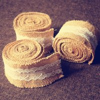Wholesale Sexy Nurse Costume Wholesale - Natural Jute Ribbon with Lace Trims Tape Wedding Supplies Tie Tape Line Fabric Ribbon Wedding Decor Burlap DIY Wrapping Decoration Ribbon