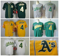 Wholesale Green Authentic - Oakland Athletics Jersey 4 Coco Crisp Jersey White Yellow Green Shirt Stitched Authentic Baseball Jersey Embroidery Logos
