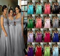 mais vestido de baile roxo venda por atacado-Fúchsia azul royal roxo vermelho 2019 2020 New lace Chiffon Longo Formal Prom Vestido de Dama De Honra Do Partido com cristal moda maxi plus size