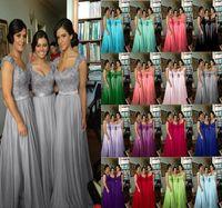 vestidos de gasa fucsia al por mayor-fucsia royal blue purple red 2019 2020 Nuevo encaje gasa larga formal Fiesta de baile Vestido de dama de honor con la moda de cristal maxi tallas grandes
