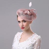 klasik büyüleyici şapkalar toptan satış-Kadınlar Için 2018 Moda Fascinator Saç Klip Gelin Düğün Sinamay Saç Aksesuarları Vintage Parti Gösterisi Şapka Çiçek Keten Firkete