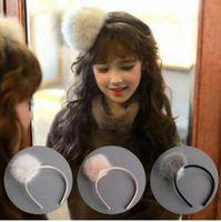 Wholesale Kids Hair Balls - Children princess hair sticks fashion Kids stereo ball tops headwear 2018 new Girls pompons party hair accessory white pink gray C2470