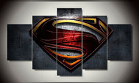 Wholesale Movie Canvas Art - Free shipping 5 pieces Superman Wall art Paintings movie HD images print on canvas for kid's living room Decoration F 1201