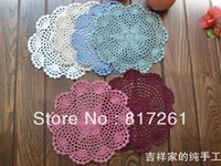 Wholesale Doily Mats - Free shipping 12pic lot 20cm round cotton crochet lace doilies fabric felt as innovative item for dinning table pad coasters mat