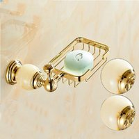 Wholesale Bathroom Marble Walls - Wholesale And Retail Wall Mounted Bathroom Soap Dish Holder Marble & Brass Bathroom Shower Soap Dishes Basket Golden Brass