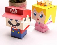 Wholesale Super Marie - 1506- 2015 New 50pcs lot cartoon Super Marie Bros princess Bride and Groom wedding favors Mario candy box wedding gifts Free Ship -Wholesale