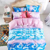 cama de espacio reina al por mayor-Al por mayor-moda el cielo azul y las nubes blancas juegos de cama, hoja de cama 4pc sin edredón, 100% poliéster King Size Space Nubes funda nórdica