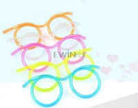 Wholesale Novelty Crazy Straw Glasses - Drinking Glasses straw fun novelty soft tube flexible unique kid adult funny crazy Goggle Drinking Straws