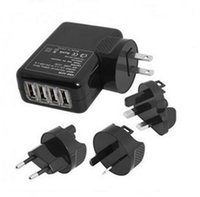 Wholesale Universal Multi Plug Travel Adapter - 4 Ports USB 2A Multi Adapter Travel Wall AC Charger with UK EU US AU Plug