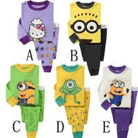 Wholesale Despicable Clothing - Kids Despicable Me Pajamas Boy Girl Long Sleeve Pajama Set Baby Minions Cartoon Sleepwear Kids Autumn Winter Cotton Pajamas Home Clothing