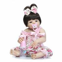 Wholesale girl playing toys cartoon - Npk Girl Doll Reborn 22 inch Full Silicone Vinyl Body Children Play House Toys Bebe Gift Boneca Reborn Toys For Children