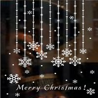 Wholesale Hanging Glass Curtains - New Year snowflake windows curtains hanging chain Showcase Glass Stores Holiday decorations vinyl wall stickers Free shipping