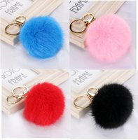 Wholesale Leather Keychains For Men - 10pcs 20 colors lovely 8CM Genuine Leather Rabbit fur ball plush key chain for car key ring Bag Pendant car keychain