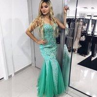 Wholesale Turquoise Sweetheart Trumpet Prom Dresses - 2017 Sparkly Crystals Prom Dresses Mermaid Sweetheart Sleeveless Prom Dress Long Formal Evening Party Gowns Turquoise Pageant Dress