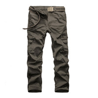 Wholesale stylish men trousers - Wholesale-Hot Sale 2016 Outdoor Men Stylish Multi Pocket Cargo Pants Casual Loose Baggy Sport Long Full Length Straight Trousers Plus Size