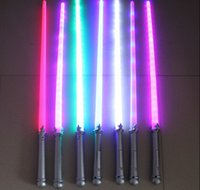 Wholesale Wholesale Lighted Kids Swords - Wholesale-(2 pieces lot) Lighten Saber led light sword toys Cosplay Sabers