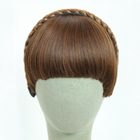 Wholesale Girls Hair Extension Clips - 3Colors Available Fake Hair Bangs Girls Front Neat Bang Hair Extensions Fringe Hair Synthetic Clips