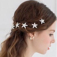 Wholesale Korean Comb Clip Wholesale - New Fashion 12 Pieces Wedding Bridal Bridesmaid Prom Korean Hair Accessories Silver Crystal Rhinestone Starfish Pins Comb Clips Jewelry Set