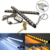 Car DRL Segnale di direzione Luci Impermeabili Styling Bianco / Ambra LED Knight Rider Strip Light Arrow Flasher Flowing DRL