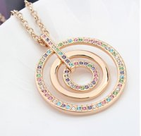 Wholesale Long Swarovski Necklace - Fashion Long Necklace Pendant Women Vintage Jewelry Long Sweater Chain Necklaces Swarovski Elements Crystal Big Round Necklace 10397