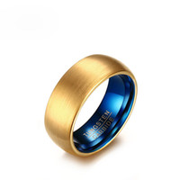 Venda por atacado Mens Fashion Wedding Fands US Size 7-12 8MM Tungsten Carbide Ring Gold e Blue Plating Matte Finished Mens Gold Rings
