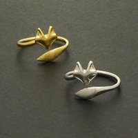 Wholesale Crystal Fox Tail - 10PCS- R023 Gold Silver Adjustable Cute Fox Rings Simple 3d Animal Fox Face Tail Ring Tiny Twisted Wrap Fox Rings for Women