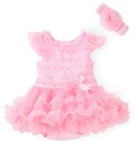 ingrosso i bambini vestono la fascia-New Pink Baby Girl Onesies Pizzo Tutu Abiti Neonato Tuta Fiori Moda Estate Imposta pagliaccetti e fascia Baby Costume