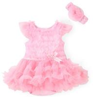 bebek yaz tutu elbiseleri toptan satış-Yeni Pembe Bebek Kız Onesies Dantel Tutu Elbiseler Yenidoğan Bebek Tulum Çiçekler Moda Yaz Setleri Tulum ve Kafa bebek Kostüm