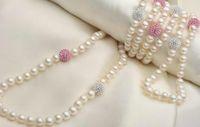 natürliche perle 48 zoll großhandel-7-8mm White Natural Pearl 10mm Strass Halskette 48 Zoll Perlenketten