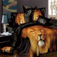 Discount 3d oil painting cover sets - Wholesale-3d Tiger Lion Wolf bedding sets queen size oil painting animal bed linen bedclothes duvet comforter covers bed sheet cotton