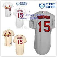 Wholesale St 15 - 2015 New St Louis Cardinal 15 Jim Edmonds Jersey White Cream Grey Cool Base Stitched