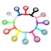 Wholesale Nurse Promotions - Promotion Christmas Gifts Colorful Nurse Brooch Fob Tunic Pocket Watch Silicone Cover Nurse Watches 20 Colors fast Shipping 200pcs