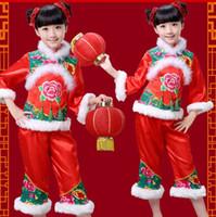 navidad nios trajes de danza folclrica chinos yangko dancing girls danza ropa abrigo de nios phoenix peony bordado