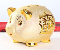 hucha de oro al por mayor-CERÁMICO CERDO PIGGY BANK BUENA FORTUNA RIQUEZA ASIÁTICO FENG SHUI GOLD PIGGY MONEY BANK