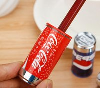 Wholesale Blue Sharpener - Fantastic Coke Cans Style Pencil sharpener creative apontador cola Design Sharpener for pencils with eraser Fashion