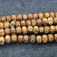 Wholesale Agate Dzi - 10mm 38pcs 1Strand Natural Tibetan Dzi Agate Beads 2eyes Yellow Loose Agate Gemstone Druzy Agate Necklace Pendant Jewelry Make Connector