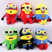 120PCS O Minions Despicable Me Plush Toy Stuart Kevin Bob Super Heroes Os Vingadores presentes Stuffed Dolls Capitão América Homem de Ferro Batman
